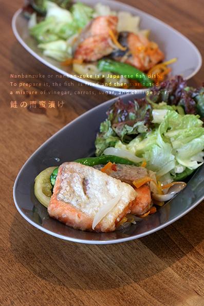 鮭の南蛮漬けと根菜炊き込み_e0137277_20295563.jpg