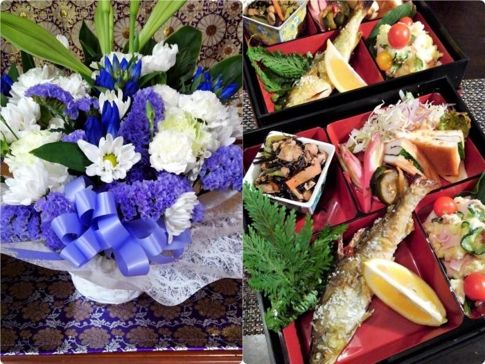 ■【お盆の入りでお供え御膳と 娘夫婦から届きましたお花のご紹介です♪】_b0033423_13315293.jpg