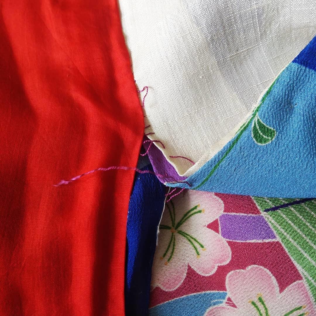 800814 お花見のアンティーク着物繕いました_f0164842_18335072.jpg