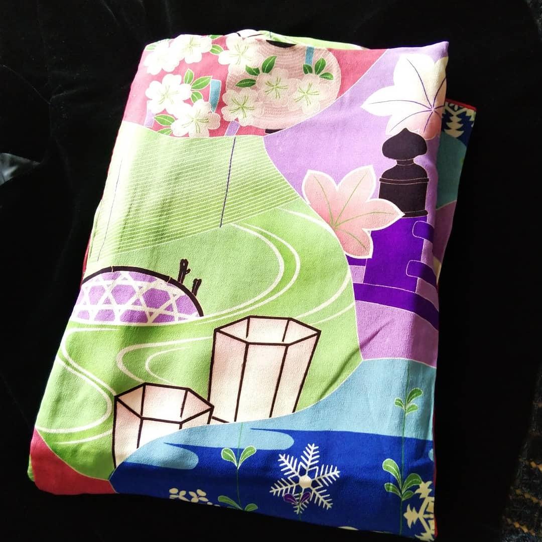 800814 お花見のアンティーク着物繕いました_f0164842_18340280.jpg