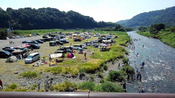 ■今日(8/15日)の河原の風景・【愛川町八菅橋から撮影 右側と左側】_b0033423_18465710.jpg