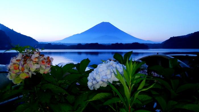 令和2年8月の富士(2) 精進湖畔の夜明け富士 _e0344396_10431591.jpg