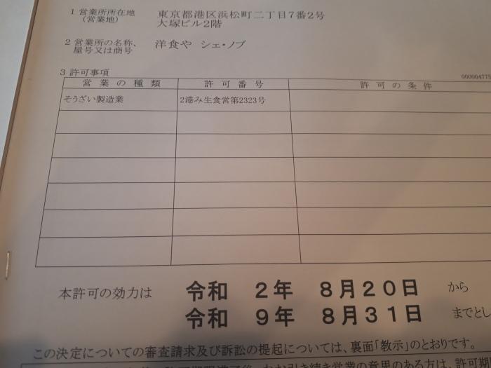 総菜製造許可書‼️_b0142648_22001131.jpg