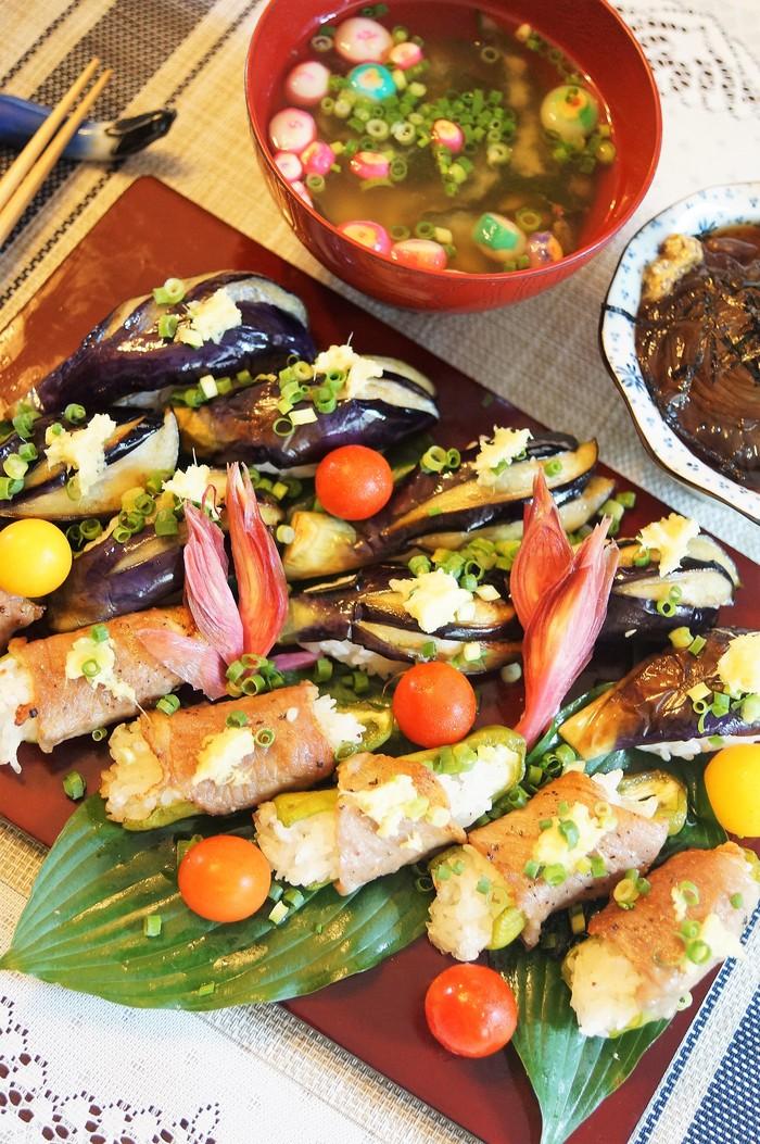 ■菜園料理【野菜寿司の握り・揚げ茄子とピーマンの肉巻き握り】_b0033423_1615473.jpg