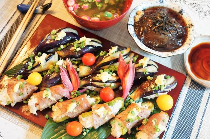 ■菜園料理【野菜寿司の握り・揚げ茄子とピーマンの肉巻き握り】_b0033423_1621033.jpg