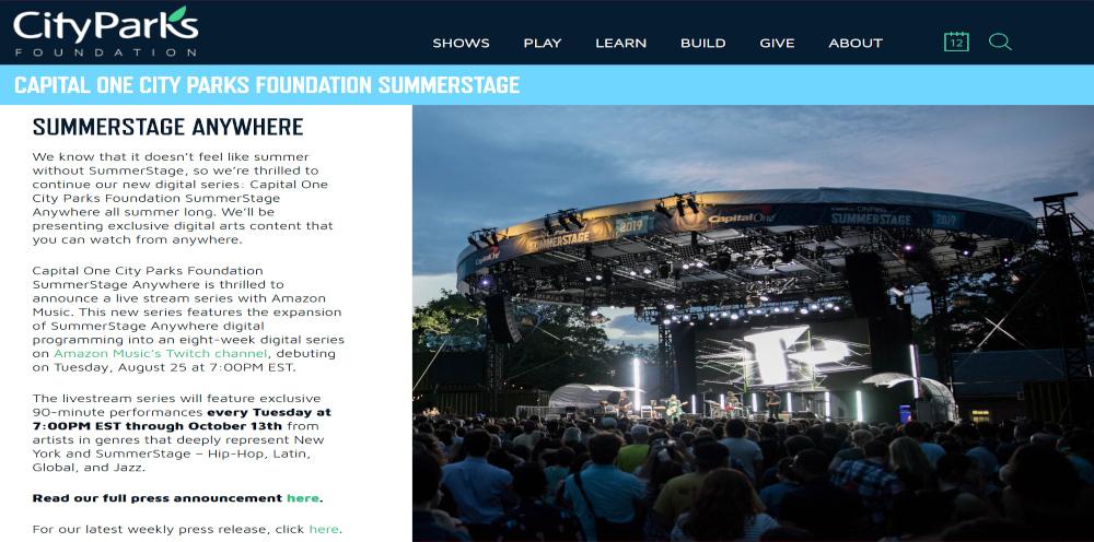 NYの夏の風物詩、サマーステージがバーチャル化し、好評につき10/13まで延長へ_b0007805_23594891.jpg