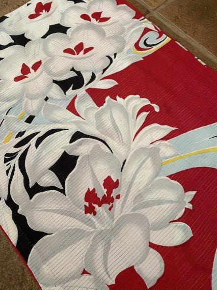 百合と流水柄の華やかな絽の着物に団扇柄の帯の着物コーディネート_e0333647_16124741.jpg