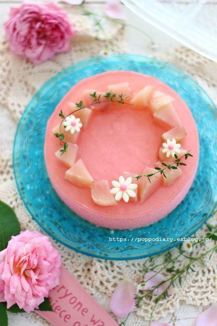 桃ムースケーキ&遅咲きアナベル_a0134594_22165642.jpg