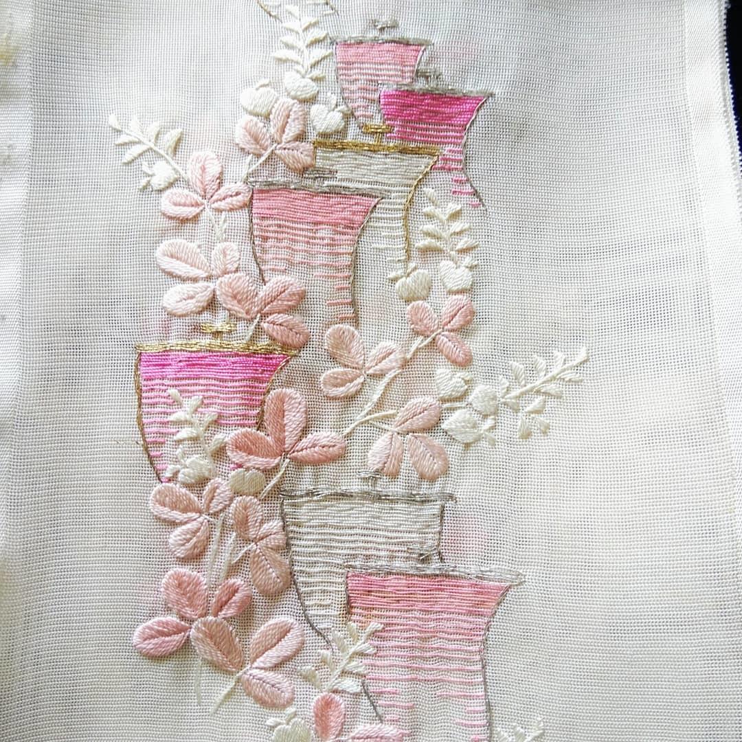 200910 アンティーク紗地刺繍半襟のお手入れ_f0164842_19391311.jpg