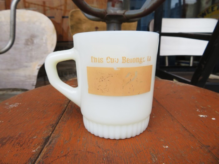 70\'s Fire King Rib Bottom Ad Mug + 明日、水曜日は店休日 !! +_e0187362_19335080.jpg