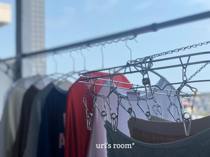 マンションの狭いベランダ、洗濯物干し事情。アイディア商品で一気に解決!!_a0341288_22524716.jpg