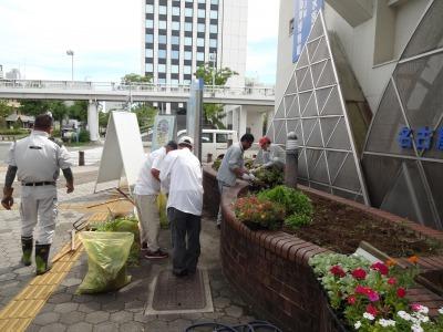 ガーデンふ頭総合案内所前花壇の植替えR2.9.14_d0338682_10155593.jpg