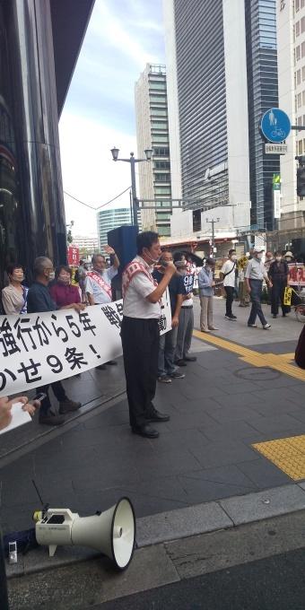 県内の立憲野党候補も参加、安保法強行5年の抗議街宣_e0094315_18195700.jpg
