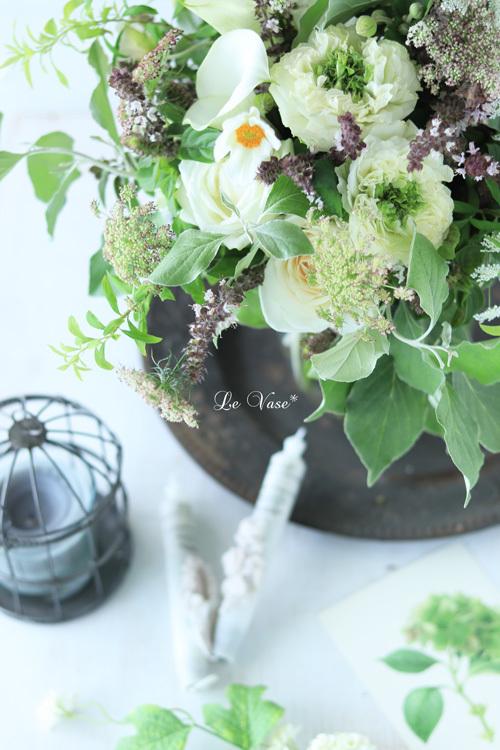 9月Living flowerクラス 『White&Green bouquet !』_e0158653_20063561.jpg