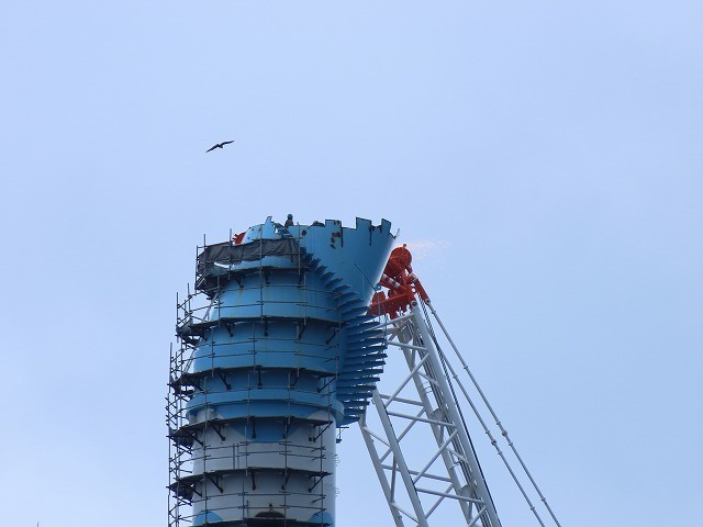 火力煙突の解体撮影(撮影:9月23日)_e0321325_15085623.jpg