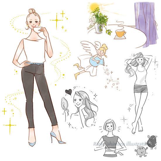書籍「健康的にやせた美しい人は粉ミルクを飲んでいる」主婦の友社-挿絵イラスト_f0227738_20544573.jpg