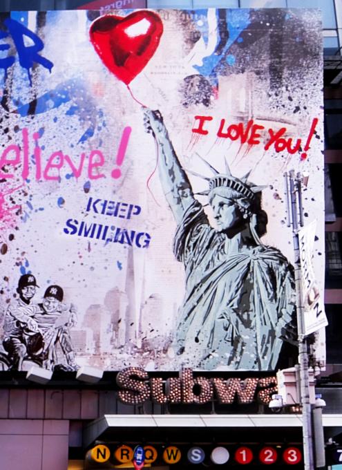 コロナ禍のニューヨークならではの情熱的な巨大アート看板 by Mr. Brainwash_b0007805_06035158.jpg