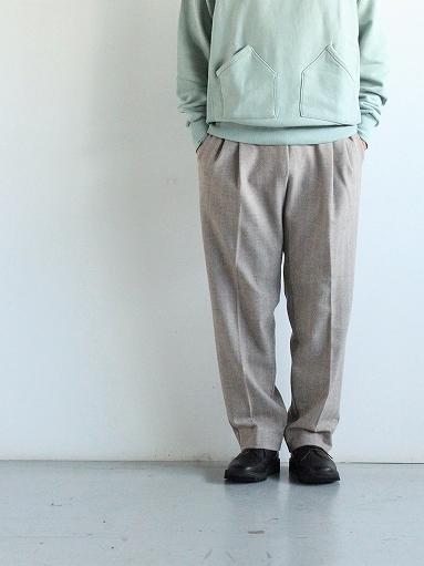 FLISTFIA Wide Tuck Trousers / Mocha Herringbone_b0139281_15371514.jpg
