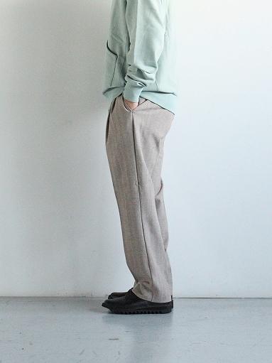 FLISTFIA Wide Tuck Trousers / Mocha Herringbone_b0139281_15371527.jpg