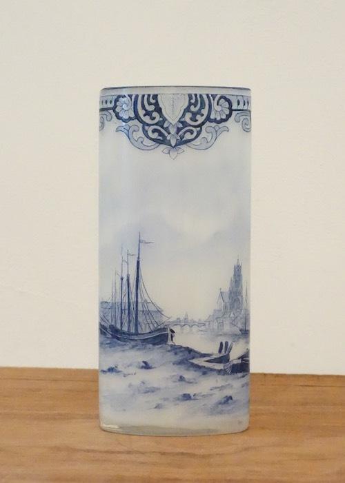 ルグラ 帆船デザイン オパリン花瓶 デルフト風_c0108595_23261049.jpeg