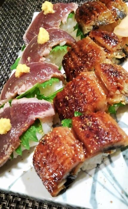 ■続・残り鰻の半身は【炙りトロ鰹とのコンビで シンプルに握り寿司で翌日食べました♪】_b0033423_21403164.jpg