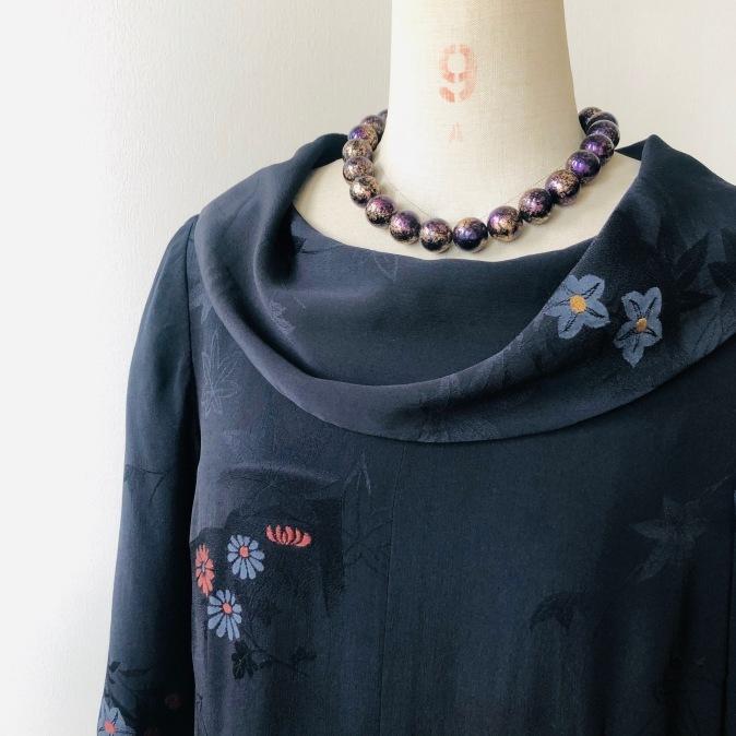 着物リメイク・羽織からロールカラーのワンピ_d0127925_12434807.jpg