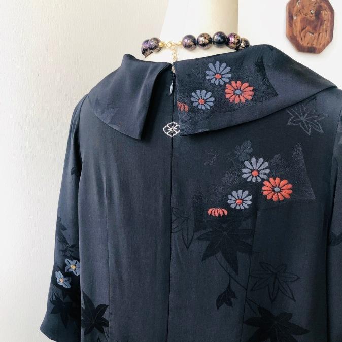 着物リメイク・羽織からロールカラーのワンピ_d0127925_12435382.jpg