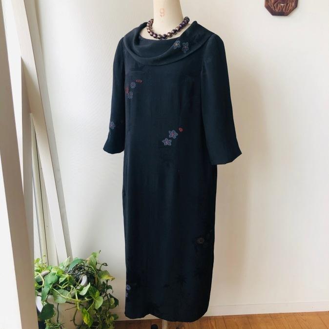 着物リメイク・羽織からロールカラーのワンピ_d0127925_12435868.jpg