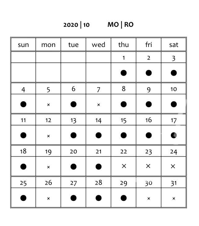 2020 | 10    営業カレンダー_f0354880_11391743.jpg