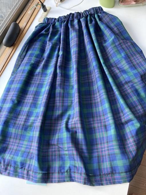 オーガンジーフィラメントチェックのスカート 5 完成_f0149924_12130241.jpg