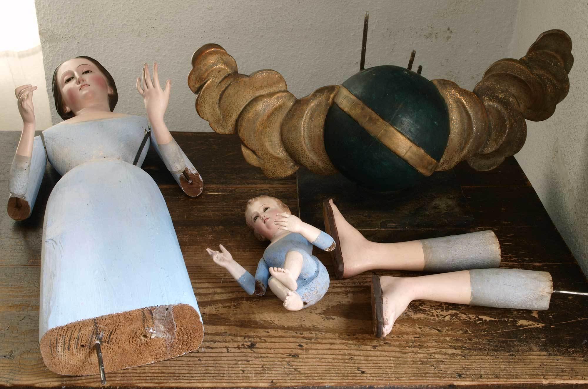 聖母子像 100cm ケージドール /H197_e0324838_03235677.jpg
