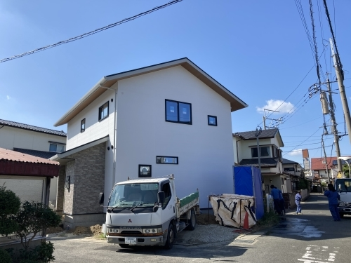 足場解体 @干隈の家_c0164996_15105480.jpg