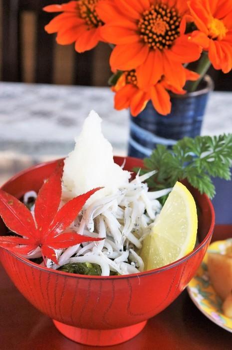 ■簡単ランチ【この季節に食べたくなる シラスメカブ丼/大根と塩昆布のキムチ和え漬物】_b0033423_22582035.jpg