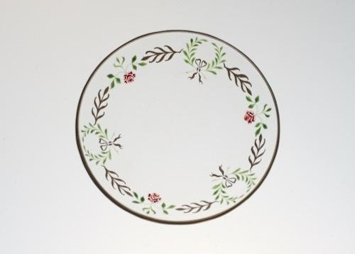 薔薇、月桂樹、リボン 金彩エナメル小皿_c0108595_23543412.jpeg
