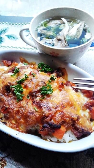 ■昼ご飯【ミートチーズドリア】作り置きミートソース活用です。/徳島から頂き物の蟹_b0033423_19110309.jpg
