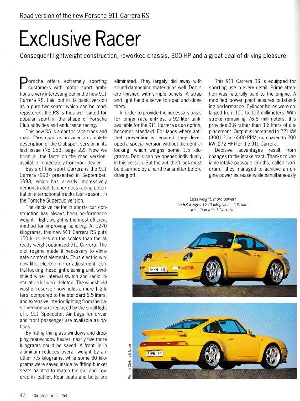 ポルシェ広報誌クリストフォーラス1995年5月号 993RSの記事_b0075486_21231005.jpg