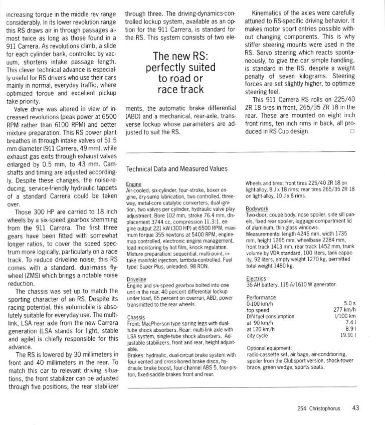 ポルシェ広報誌クリストフォーラス1995年5月号 993RSの記事_b0075486_21232023.jpg