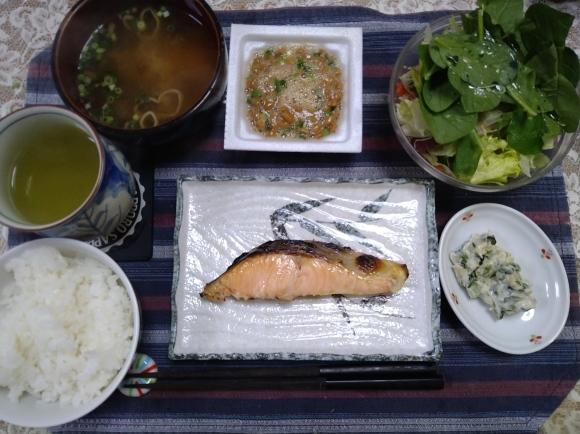 11/29,30 国産時鮭塩焼甘口納豆定食@自宅_b0042308_19561401.jpg