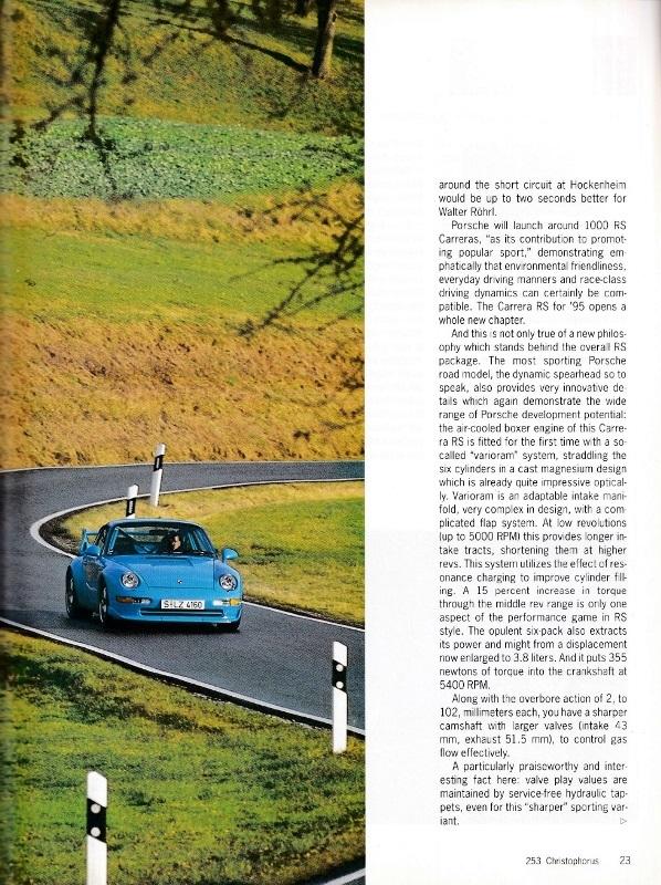 ポルシェ広報誌クリストフォーラス1995年3月号 993RSクラブスポーツの記事_b0075486_23023993.jpg