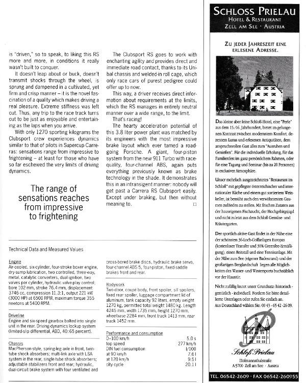 ポルシェ広報誌クリストフォーラス1995年3月号 993RSクラブスポーツの記事_b0075486_23030665.jpg