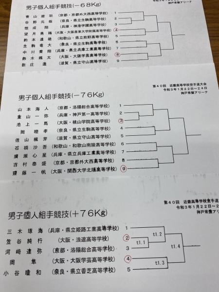 速報 第40回近畿高等学校空手道大会 トーナメント_e0238098_17010245.jpeg