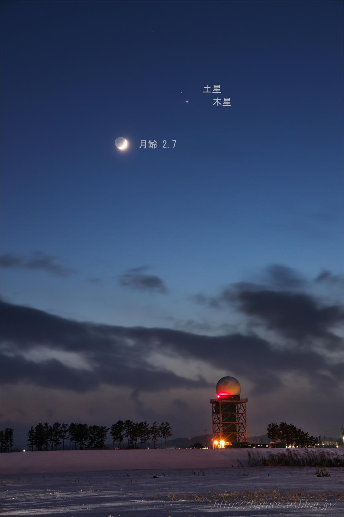 細い月と木星、土星の接近_b0191074_22165699.jpg