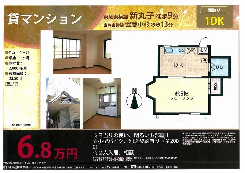 新丸子 ♥ 武蔵小杉♥1DK_e0152329_11162561.jpg