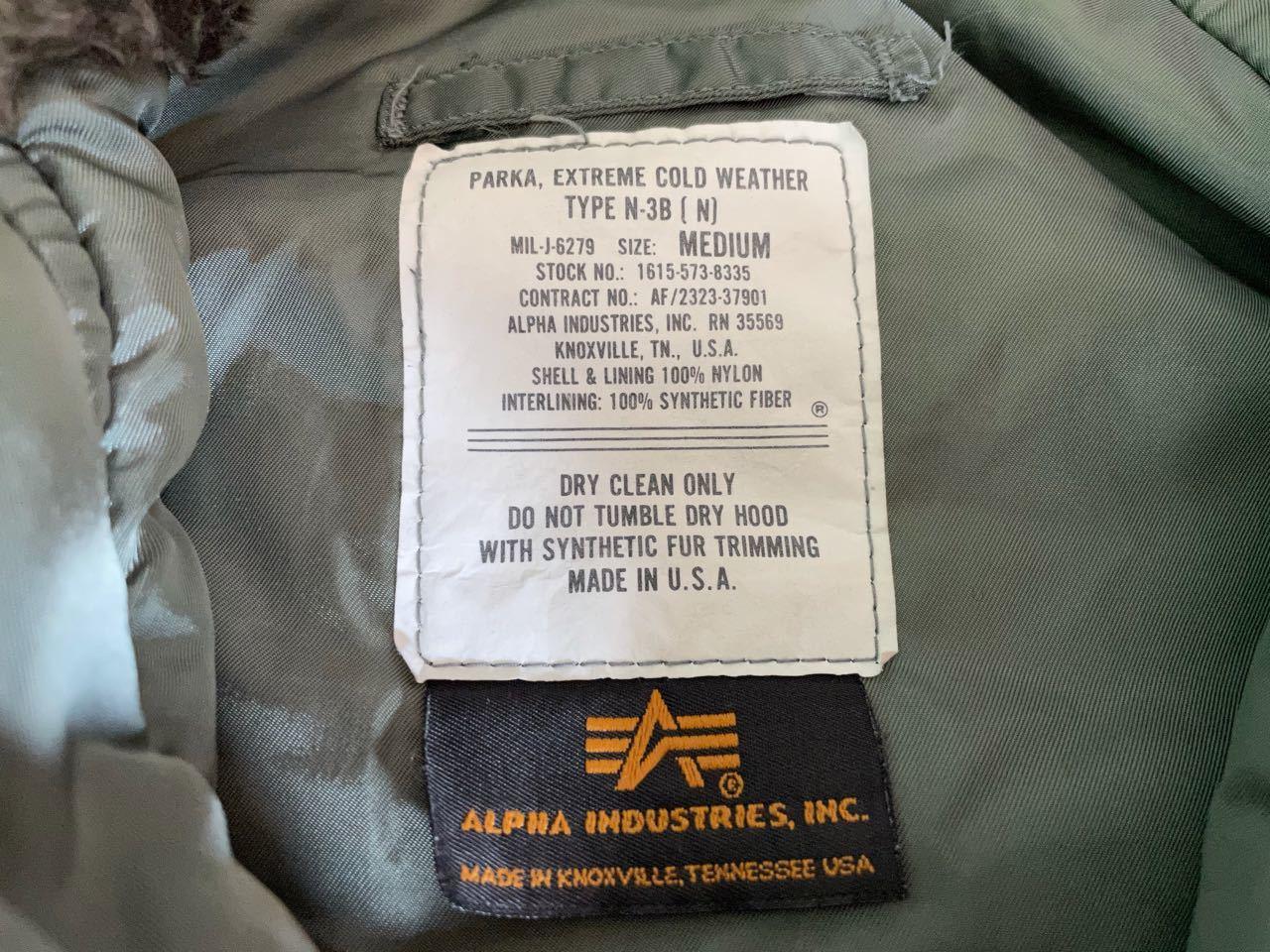 1月5日(火)入荷!90s MADE IN U.S.A ALPHA アルファ N-3B ジャケット!_c0144020_13322513.jpg