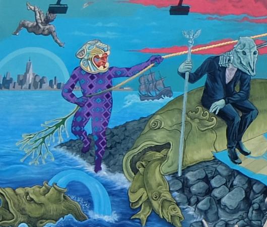 さすがNYで最も有名な壁画スポット、バウリー壁画(Bowery Mural)、横の隙間にもこんな壁画が・・・_b0007805_00435810.jpg