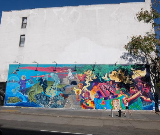 さすがNYで最も有名な壁画スポット、バウリー壁画(Bowery Mural)、横の隙間にもこんな壁画が・・・_b0007805_00442484.jpg