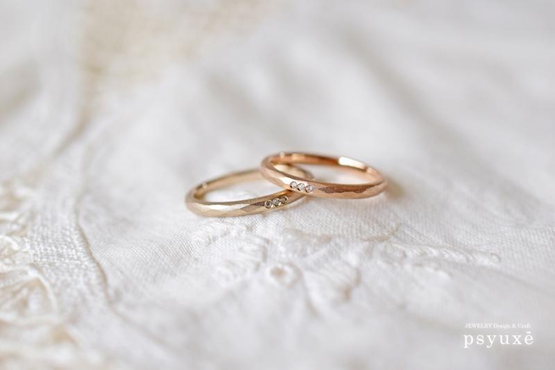 3粒のダイヤとK18ピンクゴールド&K18シャンパンゴールドのご結婚指輪*静岡県 Y 様_e0131432_17190260.jpg