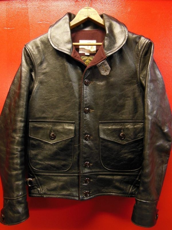USED HIMEL BROTHERS LEATHER HERON 1929/BLACK HORSEHIDE/SIZE-36/ボタンフロント ホースハイド A-1 ジャケット_c0187684_16223711.jpg