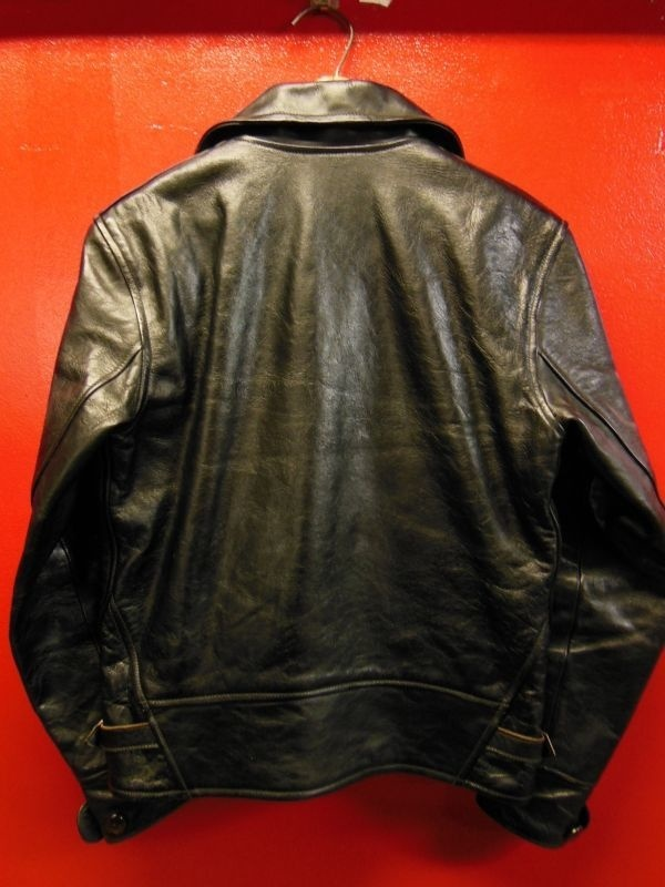 USED HIMEL BROTHERS LEATHER HERON 1929/BLACK HORSEHIDE/SIZE-36/ボタンフロント ホースハイド A-1 ジャケット_c0187684_16231229.jpg