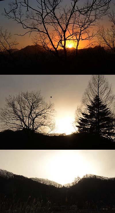山から昇る日の出の角度で異なる初日の出の色_e0005362_06111626.jpg